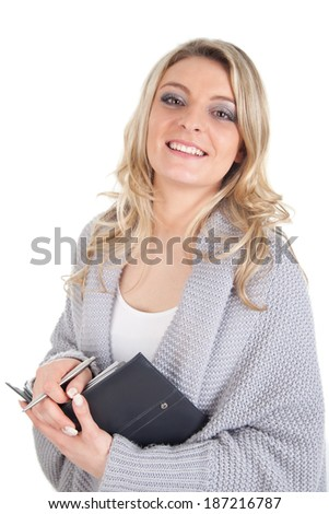 Blonde woman with calendar