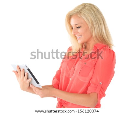 Blonde woman with tablet   - stock photo