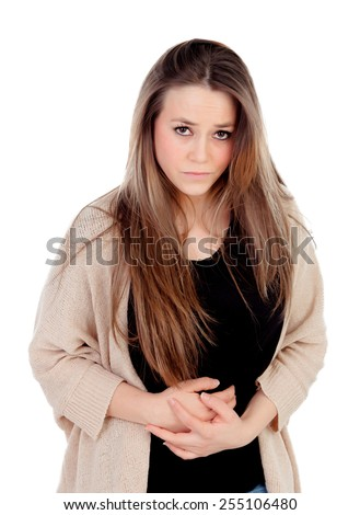 Blonde young girl with with stomach pain isolated on a white background - stock photo