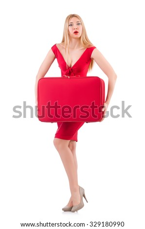 Blondie in red dress with suitcase isolated on white - stock photo
