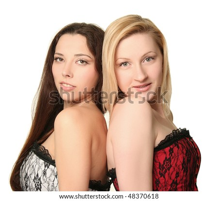 blondy and brunette on white background