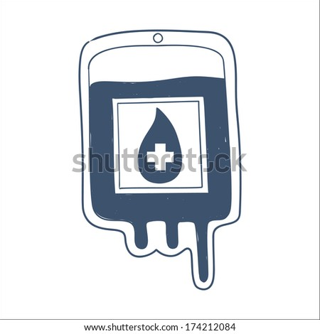Blood bag isolated on white. Sketch element for medical or health care design - stock photo