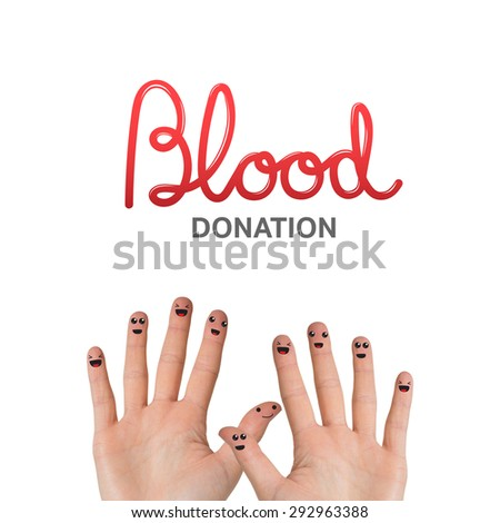 Blood donation against hands waving