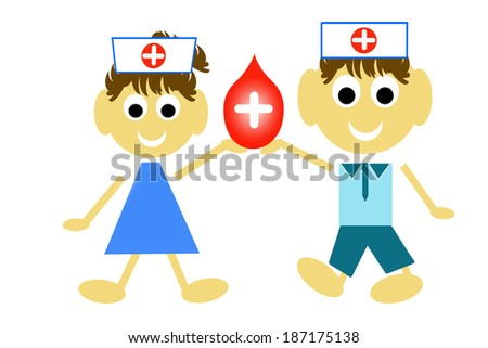 Blood Donation Concept Present By Red Blood Drop and White  - stock photo