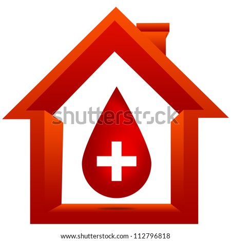 Blood Donation Concept Present By Red Blood Drop With White Cross Sign Inside The House Isolated on White Background - stock photo