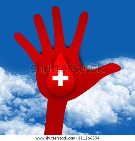 Blood Donation Concept Present By White Cross Sign With Red Blood Drop on Hand in Blue Sky Background - stock photo