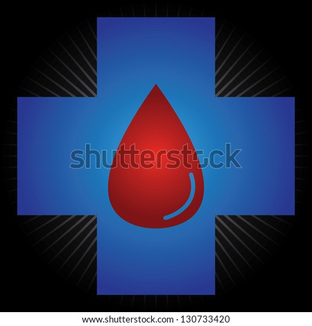 Blood Donation, Give Blood, Save Life or First Aid Concept Present by Blue Cross With Red Blood Drop Inside in Black Shiny Background - stock photo