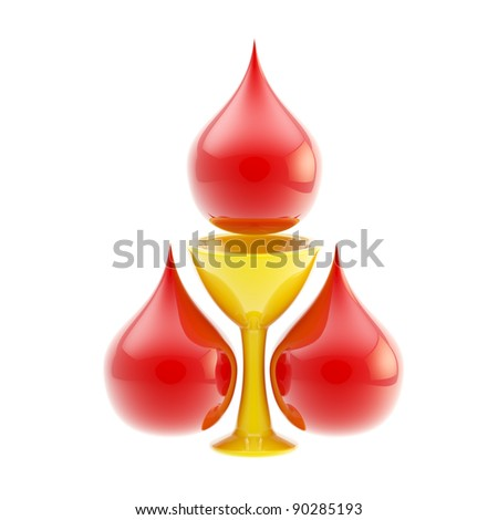 Blood donation icon: three stylized blood drops surrounding golden bowl icon isolated on white