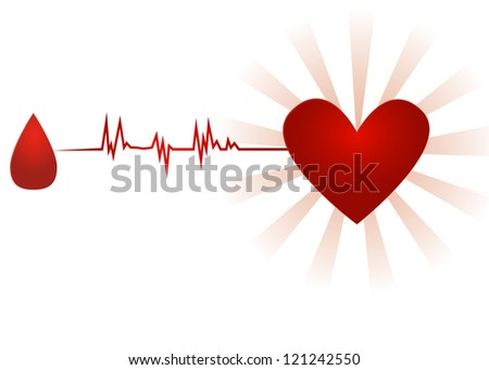 Blood donation/Old paper icon with drop of blood going with ecg to heart, isolated on white - stock photo