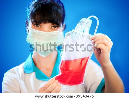 Blood donor service on a blue background - stock photo