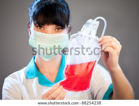 Blood donor service on a grey background - stock photo