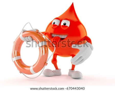 Blood drop character holding life buoy isolated on white background. 3d illustration