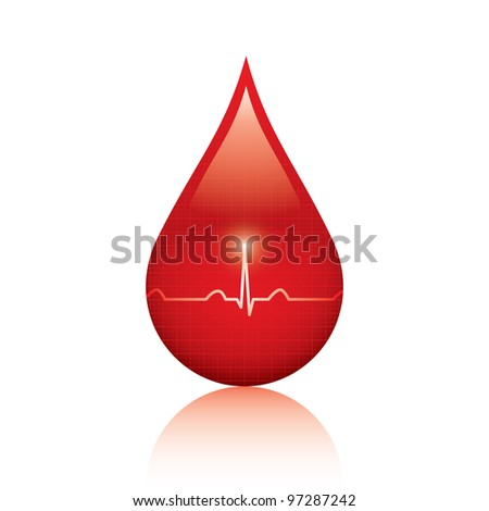 Blood drop isolated on white background - stock photo