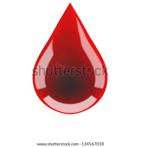 Blood drop on isolated