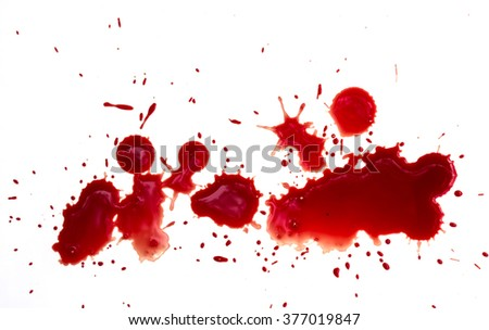 blood droplets on white  background