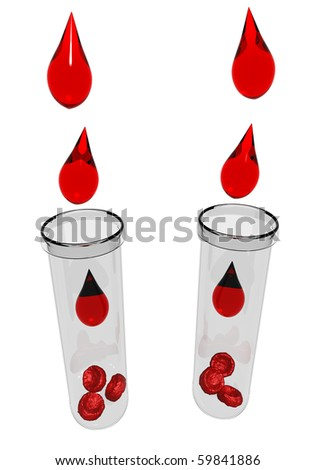 Blood drops with red blood cells - stock photo