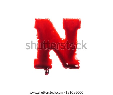 Blood fonts with dripping blood, the letter N - stock photo