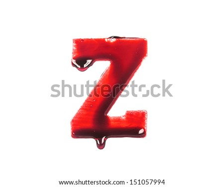 Blood fonts with dripping blood, the letter Z - stock photo
