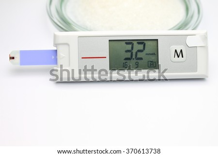 Blood glucose monitoring system with normal level of glucose and sugar in the plate