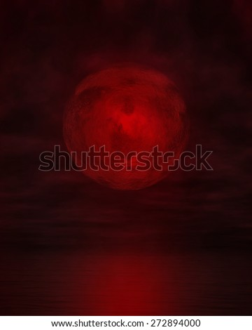 Blood moon on cloudy sky with calm water and reflecting light - stock photo