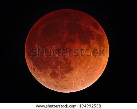Blood Moon - This is a picture of the Moon during the Lunar Eclipse on April 15, 2014. - stock photo
