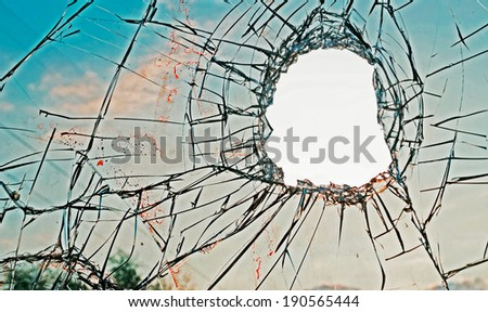 blood on a broken glass - stock photo