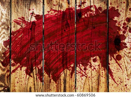 blood on a wooden wall - stock photo