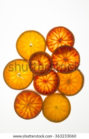 Blood orange slices with back light (top view)