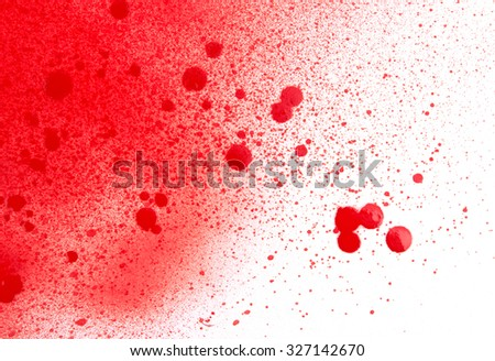 Blood (paint) spatters, splashes and sprays isolated on white - stock photo