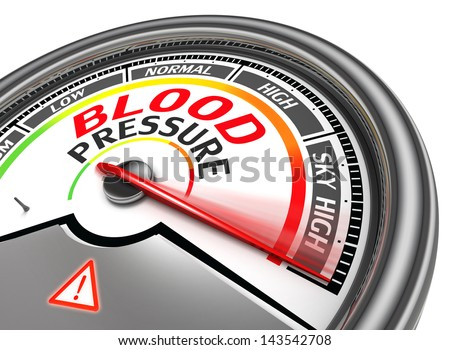 blood pressure conceptual meter indicate sky high, isolated on white background - stock photo