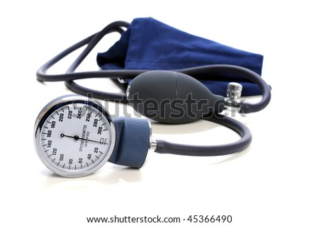 Blood Pressure devise with selective focus isolated over white background - stock photo