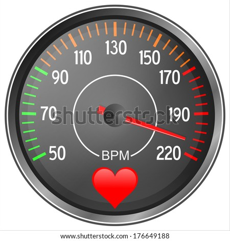 Blood pressure gauge illustration isolated on white background - stock photo