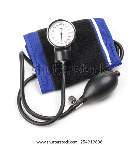 Blood pressure kit isolated on the white background - stock photo