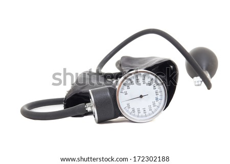 blood pressure measurement instrument isolated on white background - stock photo