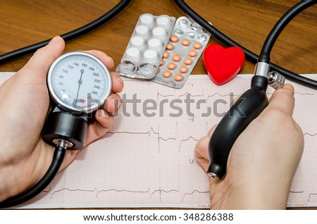 Blood pressure measuring above cardiogram - stock photo