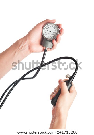 Blood pressure measuring hands closeup isolated - stock photo