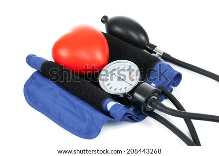 Blood pressure measuring tools with red toy heart - studio shoot on white - stock photo
