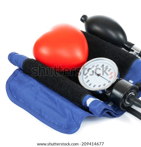 Blood pressure measuring tools with red toy heart - studio shoot on white - 1 to 1 ratio