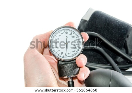 Blood pressure medical equipment isolated on white