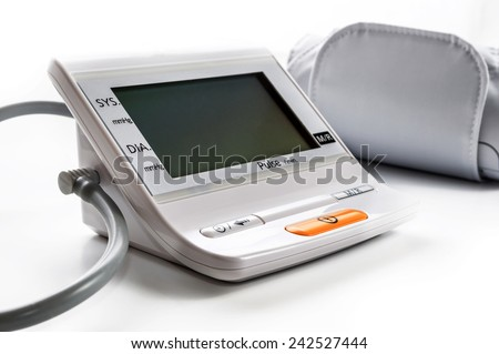 Blood Pressure Meter And Cuff Isolated On White
