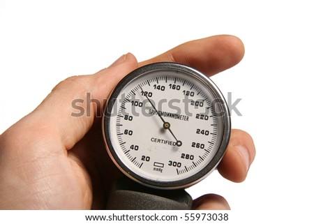 blood pressure meter in hand - stock photo