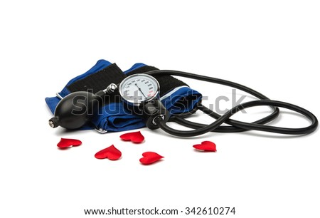 Blood pressure meter medical equipment isolated on white - stock photo