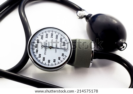 Blood pressure meter medical equipment isolated on white  bavkground - stock photo