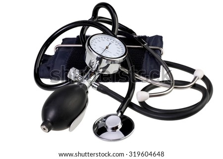 Blood pressure monitor and stethoscope - stock photo