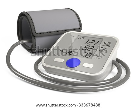 Blood Pressure Monitor Isolated On White Background - stock photo