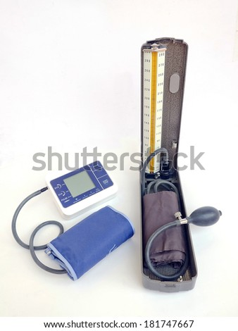 blood pressure on white background.