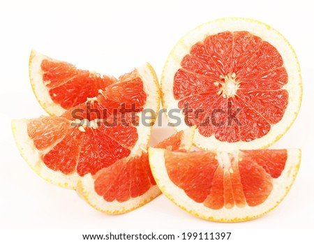 Blood red oranges isolated on white background