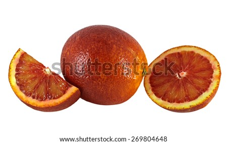 Blood red oranges isolated on white background. Clipping path included.