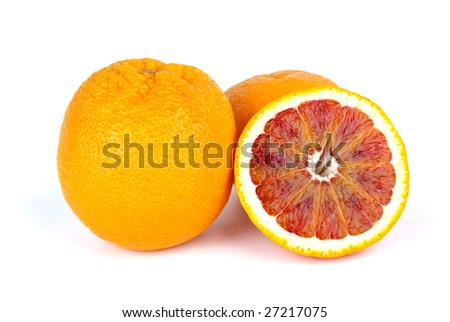 Blood (red-pulp Malta) oranges and half isolated on the white background