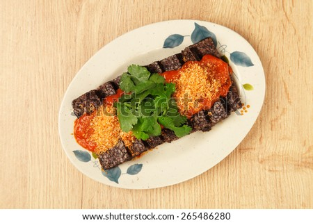 Blood rice cake  with , Taiwanese traditional food      - stock photo
